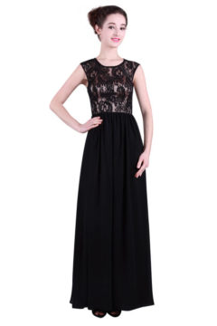 Miss Anne 214349 long dress with lace bodice $229