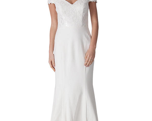 Miss Anne 217440 White long gown with train $250