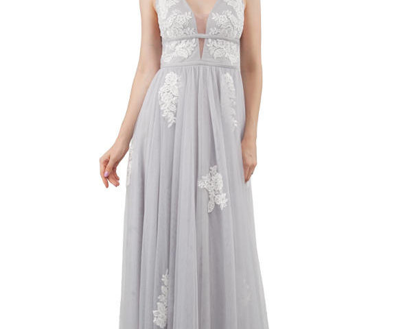 Miss Anne long Silver or White Formal gown $390