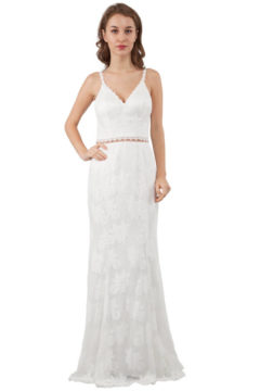 Miss Anne 218401 long lace gown / Formal dress with low back $350