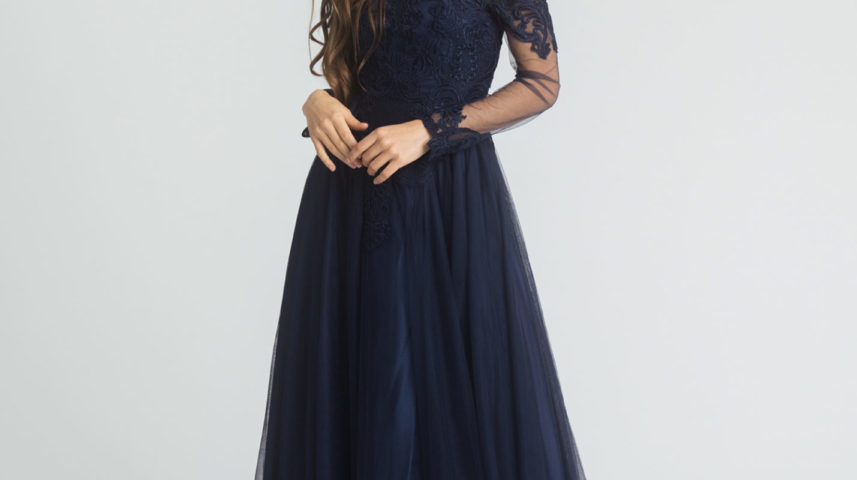 Miss Anne 219516 Long lace Navy Ball or formal dress $390