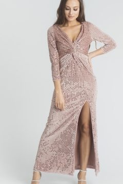 Miss Anne 220208 velvet and sequin long sleeved long dress $200