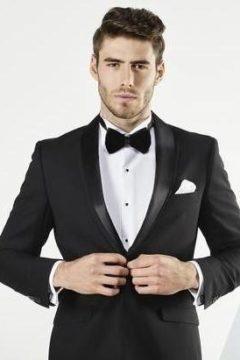 Aston A019301 Black suit / Tuxedo with detachable black satin lapel $329
