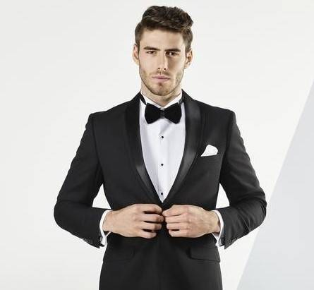 Aston A019301 Black suit / Tuxedo with detachable black satin lapel $329
