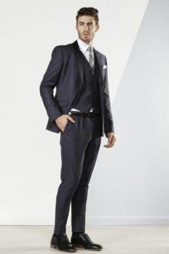 Aston A029301S Charcoal Suit Tuxedo with detachable black satin lapel $329