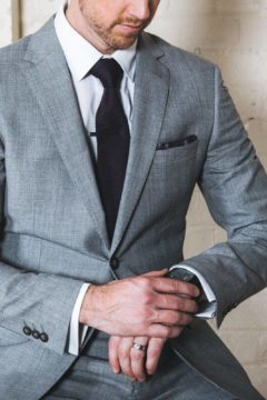 Aston A036018S Grey Suit Linen and Wool $450
