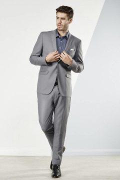 Aston Mens Suits light grey with detachable black satin lapel $329