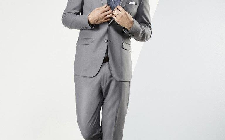 Aston Mens Suits light grey with detachable black satin lapel $329