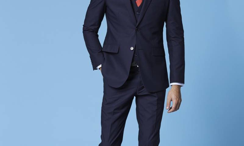 Deniro 92432 Slim fit Navy Blue 2 piece Suit $220.00