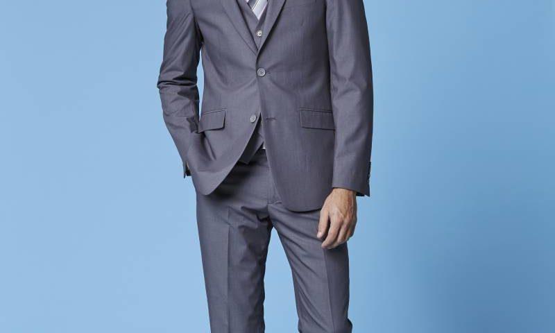 Deniro 92431 grey  2 piece slim fit suit $220