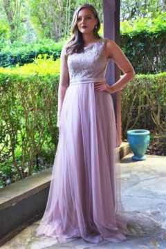 Miss Anne 215250 long dress with tuille overlay and lace bodice $189 – 249