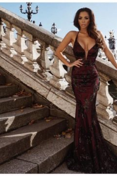 Tinaholy Couture P1748 dress / gown long burgundy with black sheer sequinned overlay $490