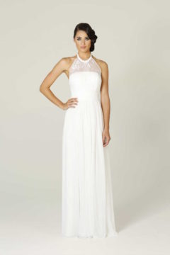 Tania Olsen Poseur PO33 long Halter dress with lace bodice $299