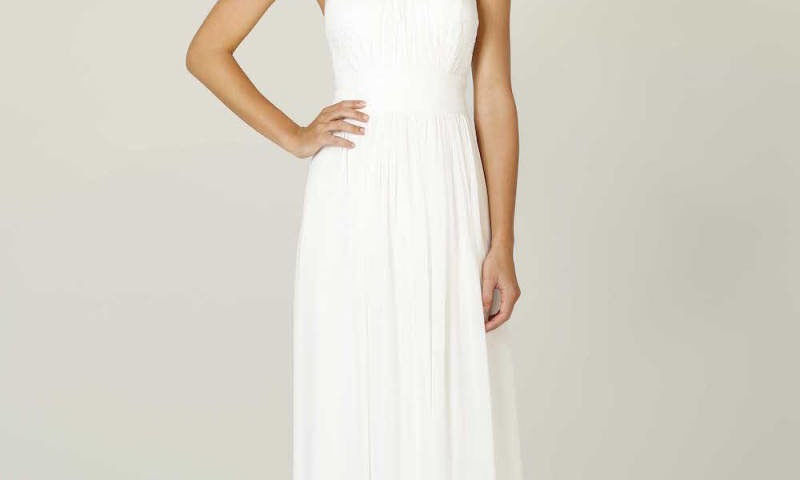 Poseur PO33 long Halter dress with lace bodice $299