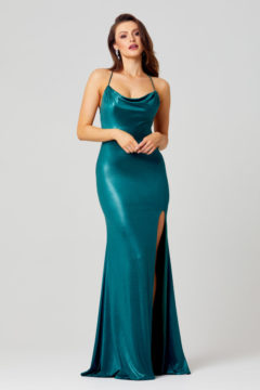 PO858 Poseur Piper long metallic dress with cowl neck $370