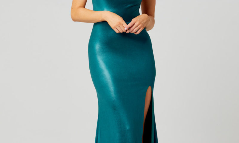 PO858 Poseur Piper long metallic dress with cowl neck $360