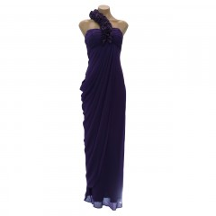 """Ursula"" Long Gown Chiffon with satin Rosettes"