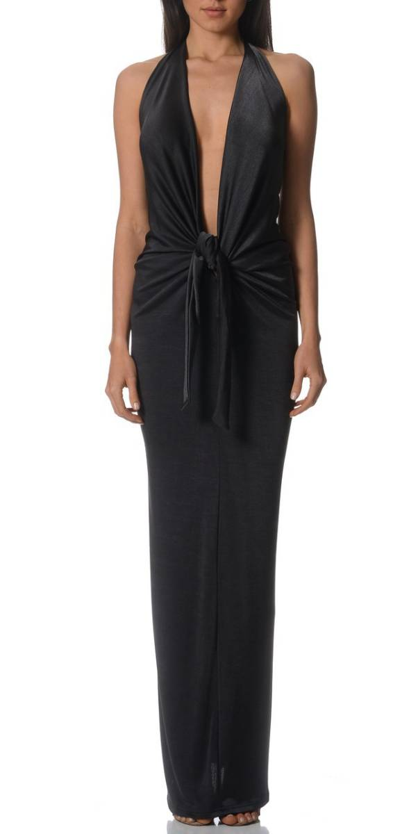 Pizzuto twist gown charcoal