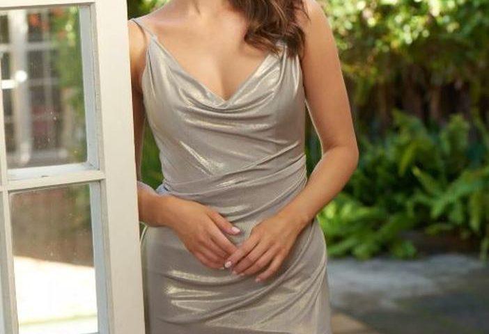 PO872 Poseur  Frankie metallic long formal dress $365