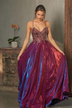 PO854 Tania Olsen Long Metallic Dress $495