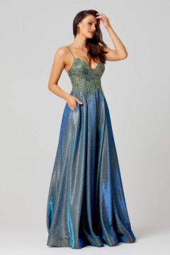 Poseur PO854 Long Metallic Dress $495