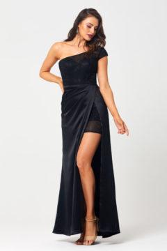 PO878 Tania Olsen One shoulder Black long dress $470