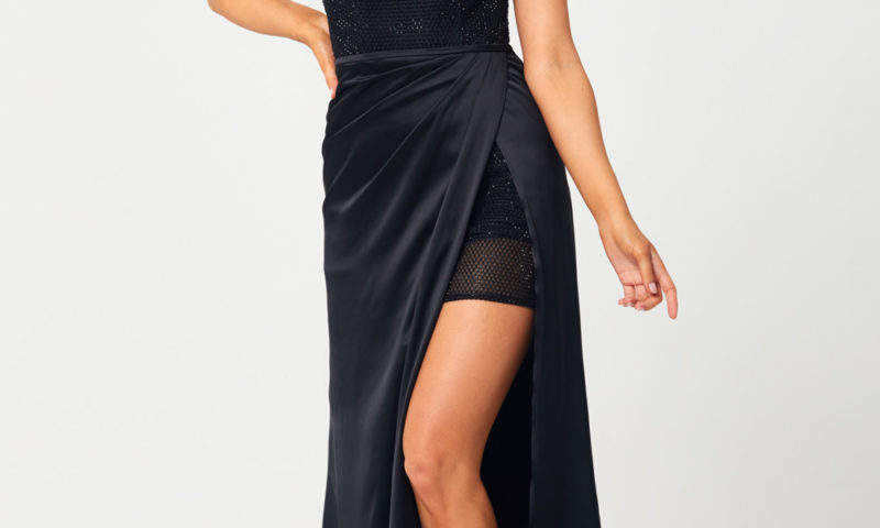 PO878 Tania Olsen One shoulder Black long dress $470