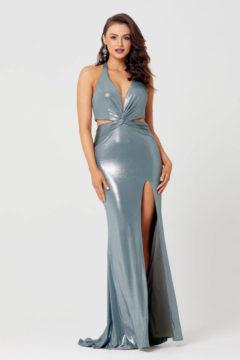 Poseur PO882 Long formal Gown – Metallic Jersey $399